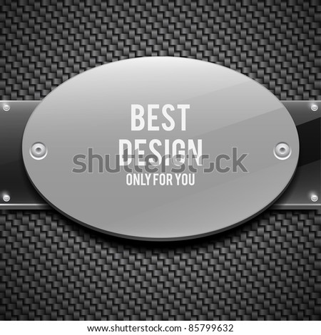 White glossy plate on carbon background(vector illustration) - stock vector