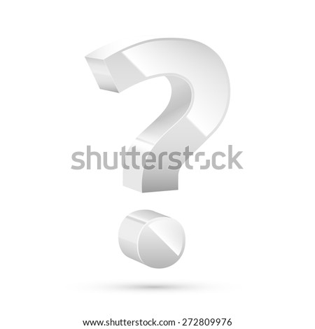 White glossy realistic question mark sign. Vector illustration - stock vector