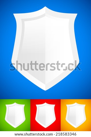 White, glossy shield background(s) - stock vector