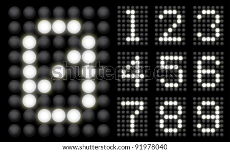 White Glowing Led Display collection of numbers - stock vector