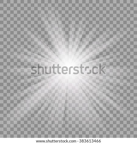 White glowing light burst explosion with transparent. Vector illustration for cool effect decoration with ray sparkles. Bright star. Transparent shine gradient glitter, bright flare. Glare texture. - stock vector