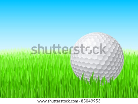 White golf ball in green grass on a blue sky. - stock vector