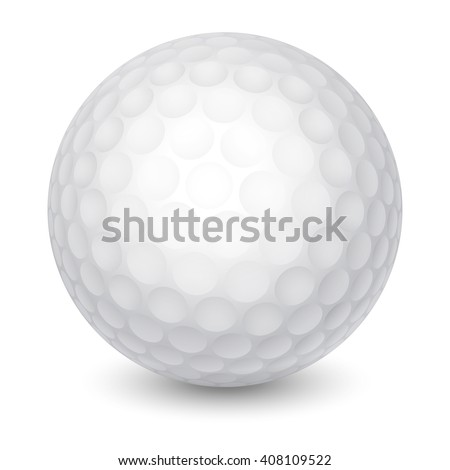 White Golf Ball. Realistic Vector Illustration. Isolated on White Background. - stock vector
