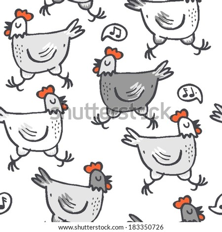 White gray singing hens run animals wildlife seamless pattern on white background