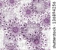 White-gray-violet grunge pattern with violet translucent flowers (vector eps10) - stock photo