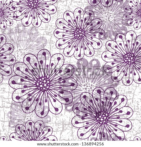 White-gray-violet grunge pattern with violet translucent flowers (vector eps10) - stock vector