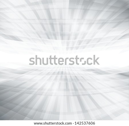 white & grey abstract perspective background, deep horizon - stock vector