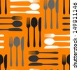 white grey cutlery on orange seamless pattern - stock vector