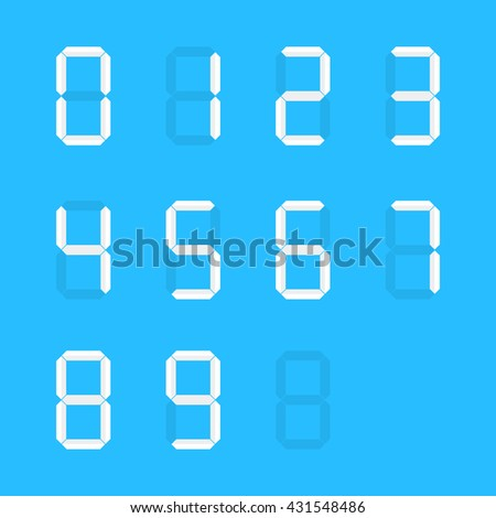 white group of simple digital numbers. concept of vintage one, two, four, five, six, nine, zero, web numeric. flat style trend modern logo graphic design element vector illustration on blue background - stock vector