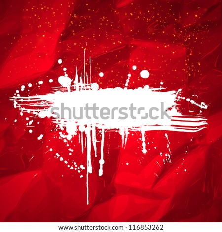 White grunge banner with copy space on abstract red background. Vector illustration. - stock vector