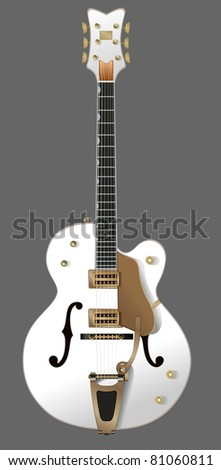 white guitar. Beautiful, semi-acoustic guitar with a white two pickups, with a gray background - stock vector