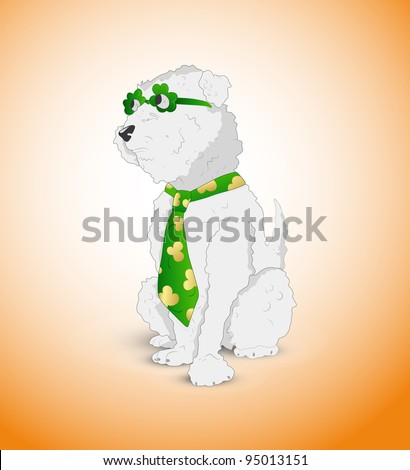 White Hairy Dog-St. Patrick's Day Cartoon Vector Illustration - stock vector