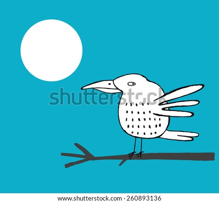 White hand drawn bird on a branch and full moon, at night, vector illustration - stock vector