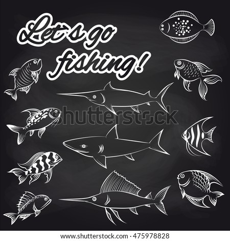White hand drawn fish on chalkboard stock vector 475978828 for Where can i buy a fishing license near me