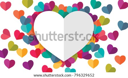 White Heart and Colorful Heart on White Background.