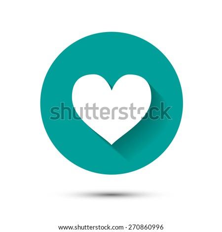 White heart icon on green background with long shadow - stock vector