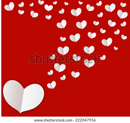 White heart on red screen background indicate your love are eternity, forever and never walk alone. It suitable for wedding presentation,cards or you can make some text to tell something in your heart - stock vector