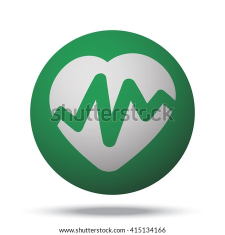 White Heart Rate Pulse icon on green ball - stock vector
