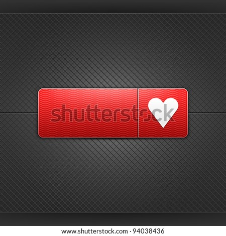 White heart sign on red rounded rectangle web button. Glowing shape with drop shadow on black metal background. This vector illustrations saved in 10 eps. See more internet button in my gallery - stock vector