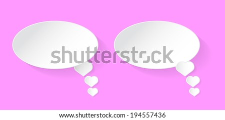 White heart speech bubble with shadow vector on pink background - stock vector