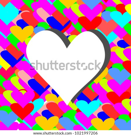 White heart with Colorful background,Valentine concept.