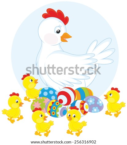 White hen sitting on painted Easter eggs surrounded by little yellow chicks - stock vector