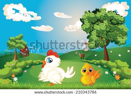 White hen with chicken on lawn, summer rural scene. - stock vector