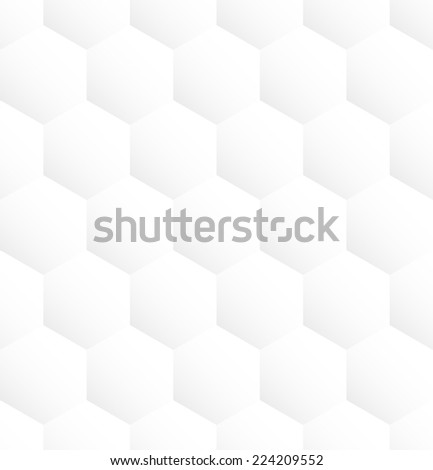 White hexagon abstract seamless pattern background. Vector illustration - stock vector