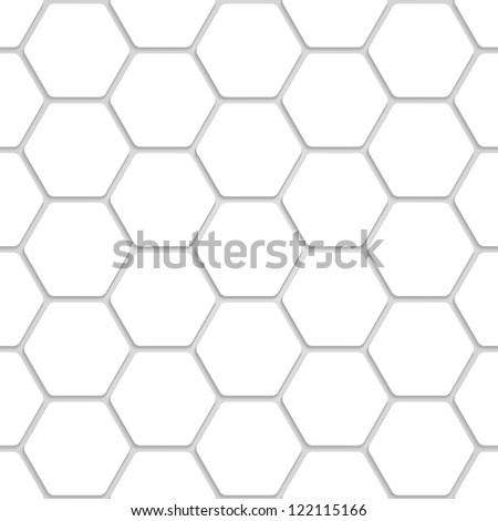 White Hexagon Texture - stock vector