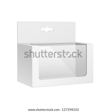 White Horizontal Product Package Box With Window. Blank On White Background Isolated. Ready For Your Design. Product Packing Vector EPS10