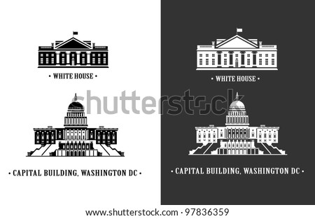 White house and Capitol building in Washington DC - stock vector