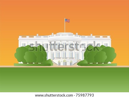 white house at sundown ( background on separate layer ) - stock vector