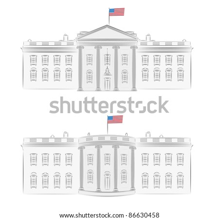 White House - detailed vector illustration of front and back, with american flag - stock vector
