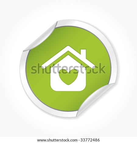 White house with the heart in it - stock vector