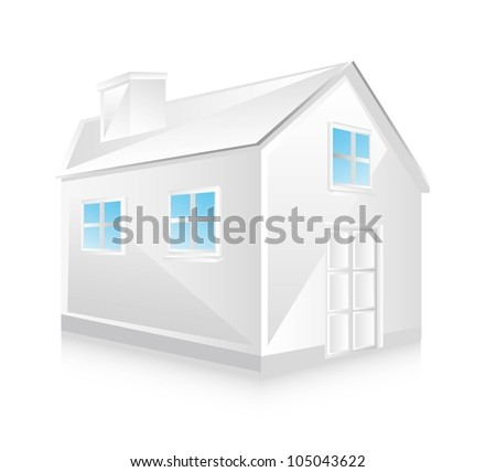 white house with window with shadow. vector illustration