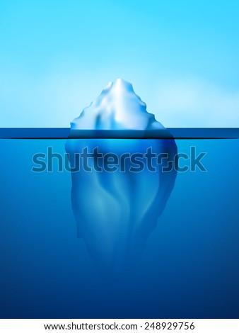 White iceberg on beautiful blue atlantic area background vector illustration - stock vector