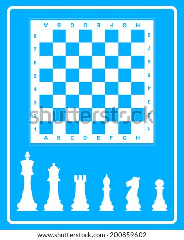 White icon of chess on a blue background in frame - stock vector