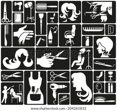 white icons on black background theme hairdresser - stock vector