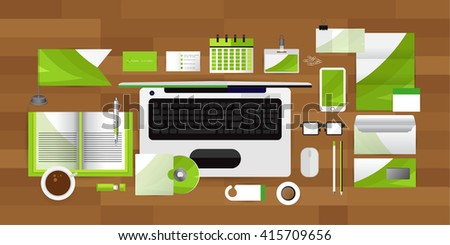 White identity template with Computer glasses coffee calendar tape  Vector company style for brandbook guideline and Pens mugs CDs books business cards letterhead flag Card Portfolio employees Tablet - stock vector