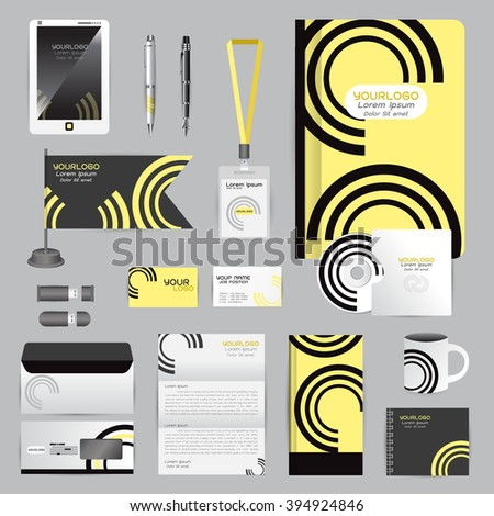 White identity template with origami elements. Vector company style for brandbook guideline and Pens mugs CDs books business cards letterhead flag Card Portfolio employees Tablet - stock vector