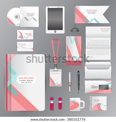White identity template with pink blue origami elements. Vector company style for brandbook guideline and Pens mugs CDs books business cards letterhead flag Card - stock vector