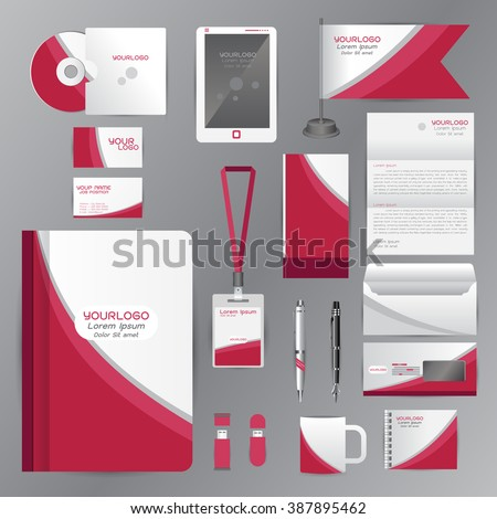 White identity template with pink origami elements. Vector company style for brandbook guideline and Pens mugs CDs books business cards letterhead flag Card Portfolio employees Tablet - stock vector