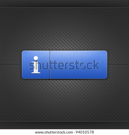 White information sign on blue rounded rectangle web button. Glowing shape with drop shadow on black metal background. This vector illustrations saved in 10 eps. See more internet button in my gallery - stock vector