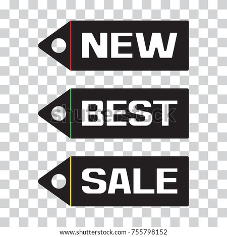 White inscriptions NEW, BEST, SALE. Black and white price tag icon on transparent background. Vector illustration