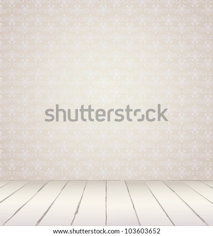 White Interior of vintage room  from gray grunge wallpaper wall and old wooden floor. Vector illustration EPS 8 - stock vector