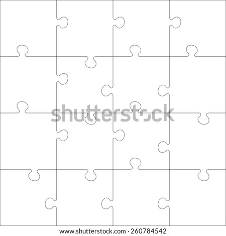White Jigsaw puzzle. Every piece is a single shape. Seamless puzzle texture. Puzzle template. Cutting guidelines. Cut on 16 piece. Eps 8 - stock vector