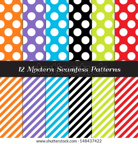 White Jumbo Polka Dot and Stripe Patterns in Blue, Purple, Orange, Red, Lime Green and Black. Perfect as Kids Monster, Sugar Rush or Rainbow Party Background. Pattern Swatches made with Global Colors. - stock vector