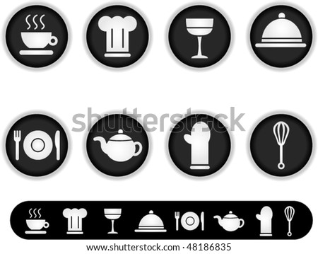 white kitchen icons-a series of white buttons and simple icon versions of them - stock vector
