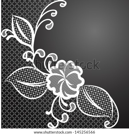White lace corner against a dark background with space for text. Can be used to design wedding invitations and greeting cards. Vector illustration. - stock vector
