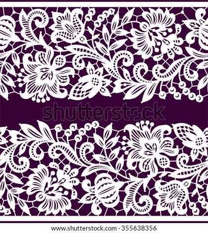 White Lace. Horizontal Seamless Pattern. - stock vector